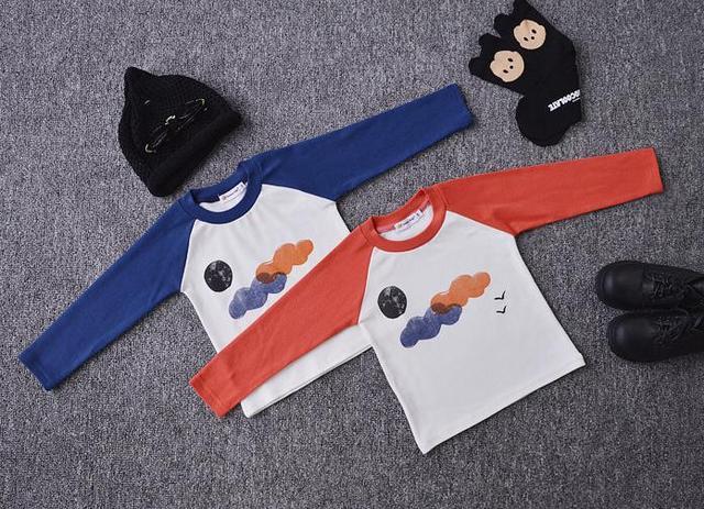 Ins * бобо выбирает * 2015 baby дети хлопок полный рукав Футболки дети осенью верхняя одежда Трикотажная ткань толщиной бесплатно доставка
