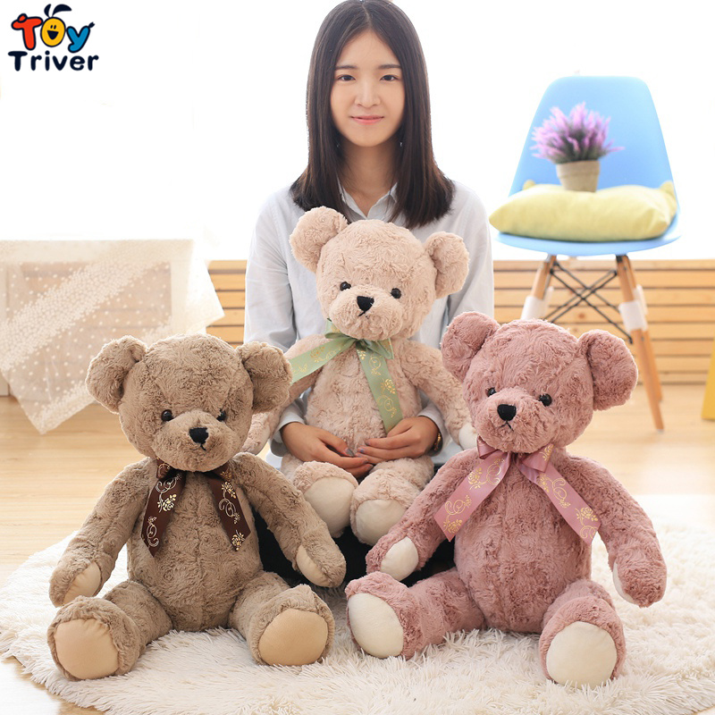 1pc 65cm Quality Retro Teddy Bear with Ribbon Plush Toy Stuffed Animal Doll Baby Kids Children Birthday Wedding Gift Home Decor 65cm plush giraffe toy stuffed animal toys doll cushion pillow kids baby friend birthday gift present home deco triver