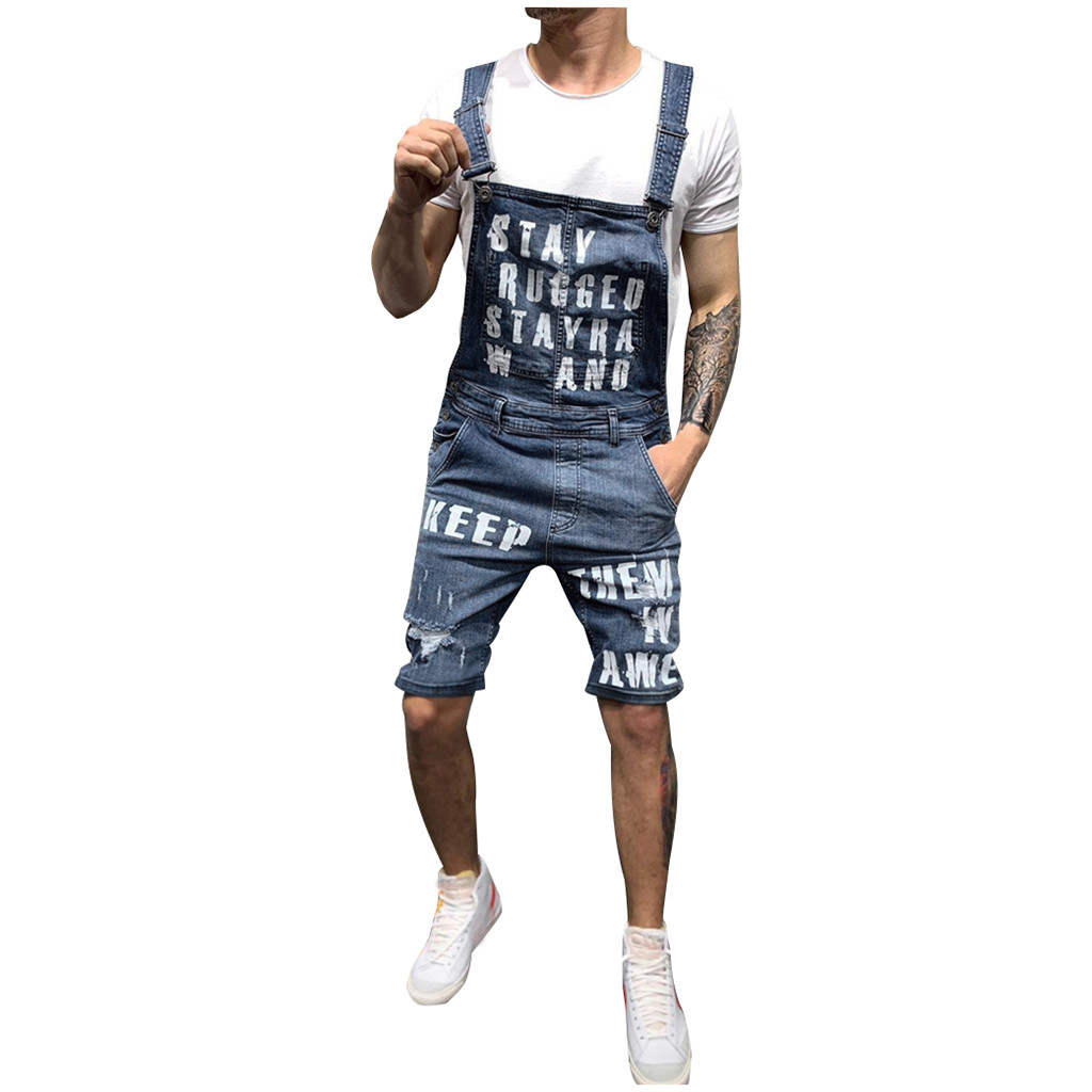 Suspender-Pants Overalls Short-Jumpsuits Distressed Denim Cowboy-Pants Ripped Mens