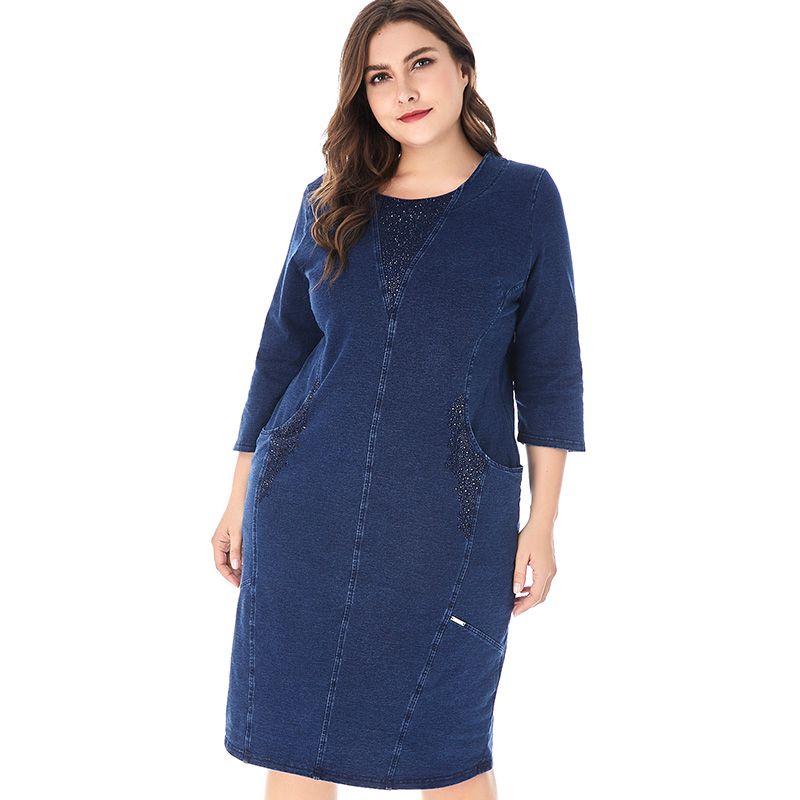 fc9cbc0bd9b5f Satın Al Miaoke Kadın Artı Boyutu Denim Elbise Kadınlar Için Yüksek ...