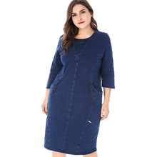 Womens Plus Size denim dress Vintage Elegant Noble Party Large Size fall dresses