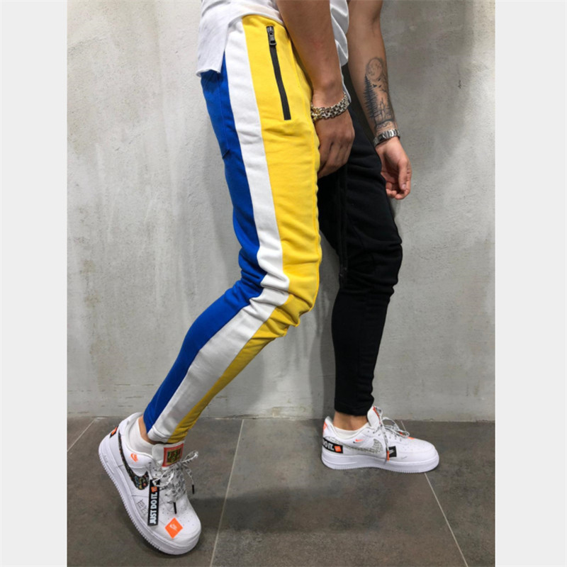 Man Trousers Pencil-Pants Mens Joggers Fitness Casual Fashion Patchwork Cotton