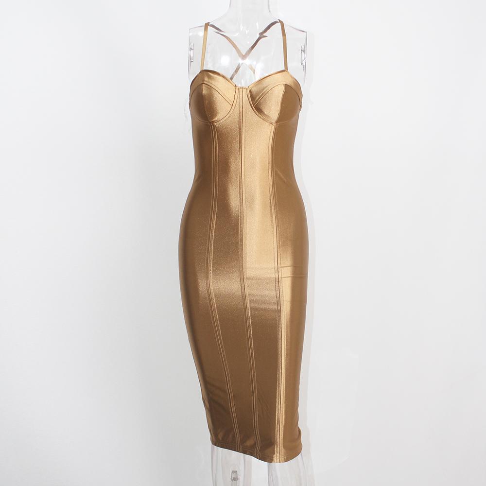 Sexy Party Midi Dress Bodycon Satin Shiny Party V Neck Sleeveless Split Back Cross Straps Gold Red Knee length Dresses Black 18
