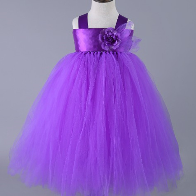 2017 New Design Purple Dresses For Girls Floral Sleeveless Kids Birthday Wedding Dresses 2-10y deep purple deep purple stormbringer 35th anniversary edition cd dvd