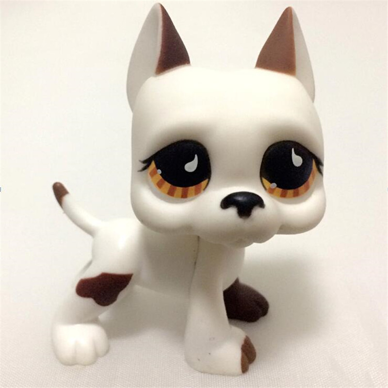 Collections Pet Shop CAT GREAT DANE #817 white dog star eyes Rare old collections figure toys Christmas gifts pet shop toys dachshund 932 bronw sausage dog star pink eyes