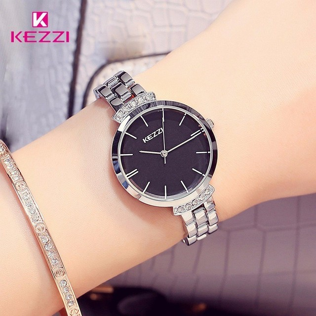KEZZI Brand Luxury Stainless Steel Women Watches Simple Waterproof Quartz Wristwatches Ladies Dress Watch Horloge Reloj Mujer