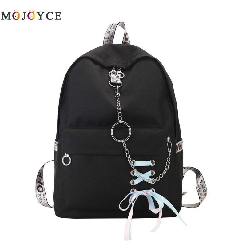 Women Canvas Backpack Female Travel Ribbons Chain Back Pack For Teenage Girls School Backpack Mochila Feminina