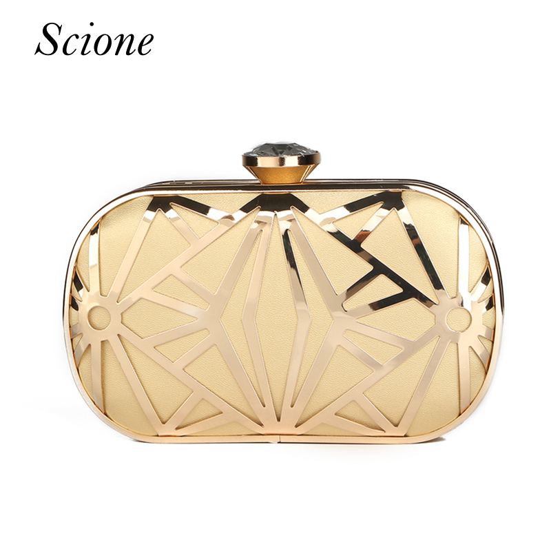 Luxurious New Hollow out Gold Clutch Diamond Clasp Evening Clutch Bags Purses Handbags Lady Bridal Chains Shoulder handbag Li321
