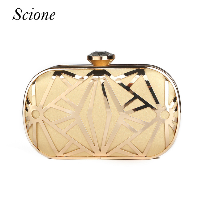Luxurious New Hollow Out Gold Clutch Diamond Clasp Evening Bags Purses Handbags Lady Bridal Chains