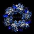 Beautiful Silver Plated Royal Blue Rhinestone Crystal Wreath Bridal Brooch