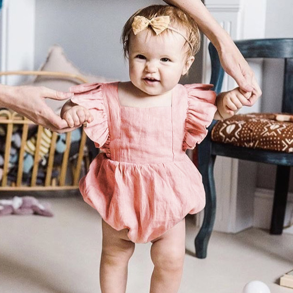 Girls' Baby Clothing Mother & Kids Infant Baby Girls Sleeveless Ruffles Solid Print Backless Romper Jumpsuit Meisjes Kleding Roupa Menina Onesies Kinder Kleider Cool In Summer And Warm In Winter