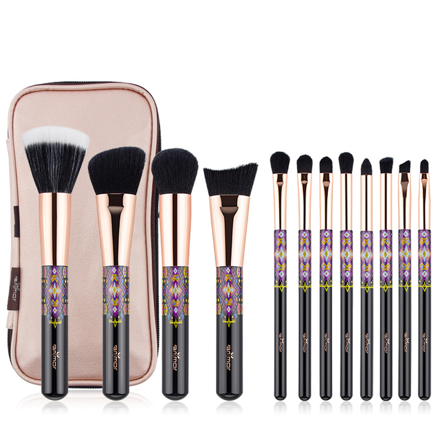 Anmor Soft Makeup Brushes 12 PCS Professional Make Up Brushes Set Foundation Eyeshadow Blush Eyebrow Brush Cosmetics Tool Kit 1