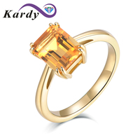 Elegant Fashion Natural Citrine Gemstone Octagon Cut Solid 14K Yellow Gold Wedding Promise Daily Wear Band Ring Set for Women