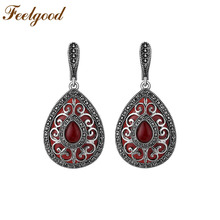 Feelgood Jewelry Antique Silver Color Vintage Earring Red Water Drop And Rhinestone Ethnic Earrings For Women Wedding Party