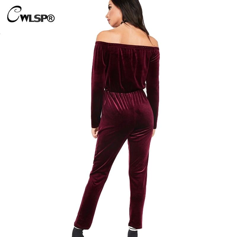 CWLSP Lady Velvet Slash neck Jumpsuit Burgundy Black Playsuit 2018 Spring Women Long Sleeve Solid Overalls Casual rompers QZ2520