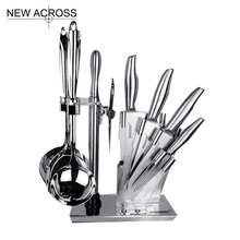 Gohide Stainless Steel Kitchen Set Fruit Knife Cut Bone Knife Sharpener Kitchen Scissors Knife Base Shovel Spoon Colander