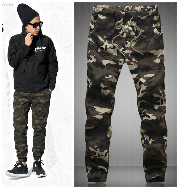 2015 HOT Dnine autumn army fashion hanging crotch jogger pants patchwork harem pants men crotch big Camouflage pants trousers