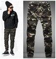 2015 HOT Dnine outono exército moda pendurado calças virilha basculador patchwork harem pants calças virilha grandes calças de Camuflagem calças dos homens