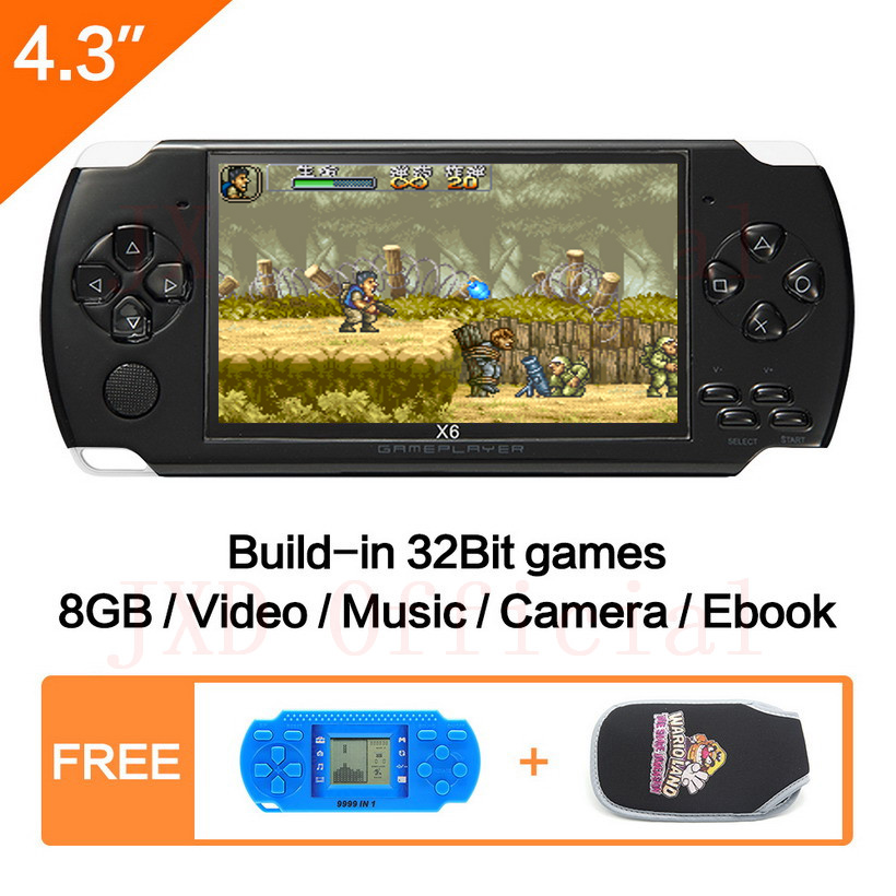 Free Shipping 4.3 inch Handheld Game Console 8Gb Mp4 Mp5 Function Video Game Built In 1200+real no-repeat for gba/gbc/sfc/fc/smd ...