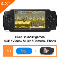 Free Shipping Handheld Game Console 8Gb Memory With Mp4 Mp5 Functpor Tablet Video Game Built In