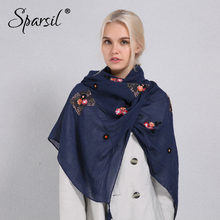 9c7587300a2 Sparsil Women Solid Color Cotton Linen Scarf Retro Embroidery Casual Large  Shawl 180x90 Spring Autumn Sun-Protect Soft Scarves