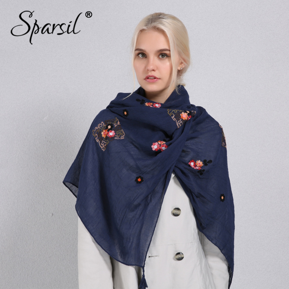 Sparsil Women Solid Color Cotton Linen Scarf Retro Embroidery Casual Large Shawl 180x90 Spring Autumn Sun-Protect Soft Scarves