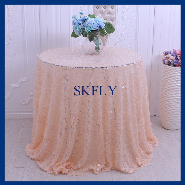 Merveilleux CL002A Wedding Glitter Christmas Fancy Round Large Square Peach Sequin  Table Cloth