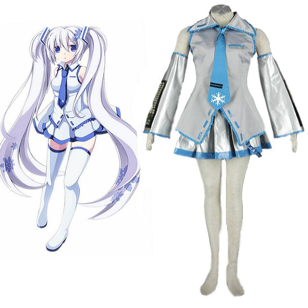 High-Q Unisex Cos Anime Hatsune Miku Snow Miku Lolita Cosplay Costumes Sets