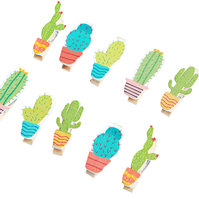 10pcs/lot Cute Cartoon Cactus Wooden Multifunction Clip With Rope Decoration Clip For Party Photo Clips
