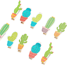 10pcs/lot cute Cartoon cactus wooden multifunction clip with rope decoration clip for party photo clips 10pcs lot creative original eco home decoration wooden clip photo paper craft clips party decoration clips