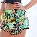 Aproms New Boho Ethnic Floral Print High Waist Shorts Women Summer 2017 Girl Beach Tassel Elastic Short Mujer Femme 70026