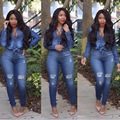 Hot fashionable popular 2016 full sleeve denim rompers overalls bodycon rompers sexy women sets