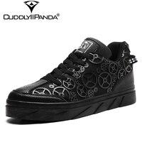 CuddlyIIPanda 2018 Autumn Steam Punk Style Men Sneakers Gear Wheel Unique Design Casual Shoes Rock Retro Style Zapatos Hombre