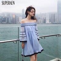 Superaen韓国スタイルドレス女性春と夏の新しいスラッシュ襟緩い女の子シフォンドレスオフショルダーファッション2018ドレ