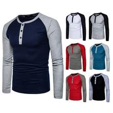 Новая модная Мужская хлопковая футболка с круглым воротником и длинным рукавом для фитнеса большого размера, пуловер из эластичной ткани