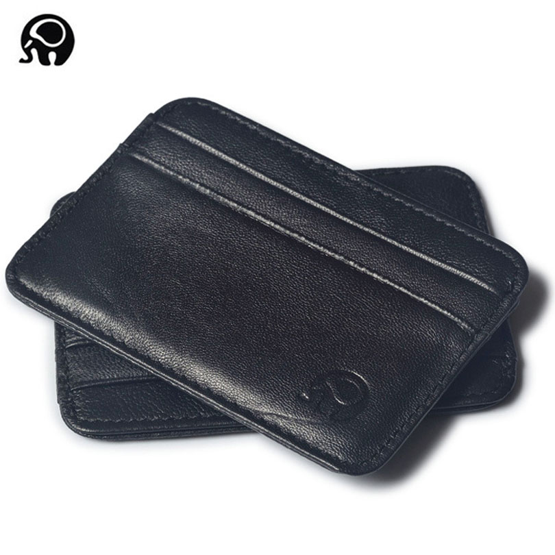 Super Slim Soft 100% Sheepskin Genuine Leather Card Holder Card Case Credit Card Organizer Men Wallets Women Purse famous brand