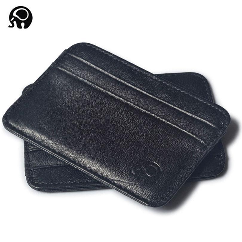 Super Slim Soft Wallet 100% Sheepskin genuine leather mini credit card wallet purse card holders Men Wallet Thin Small ! leather men wallet super thin leather handmade custom name slim purse men short small wallet card purse male