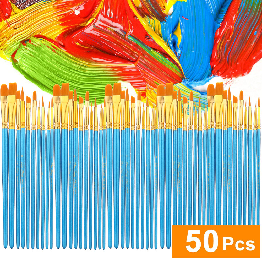 Acrylic Paint Brush Set 5 Packs/50 Pcs Nylon Hair Brushes For All Purpose Oil Wa
