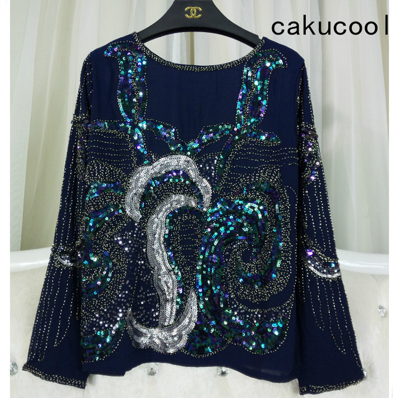 Cakucool Women Sequined Blouse Tops See-through Sexy Mesh Blusas Long Sleeve Embroid Beaded Floral Lady Runway Blouses Shirt