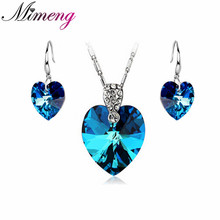 100% Silver 925 AAA Jewellery Units for Girls Coronary heart Of The Ocean Jewellery Set Strong Silver Free Delivery SS015