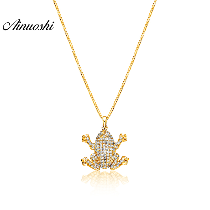 все цены на AINUOSHI 10K Solid Yellow Gold Pendant Cute Frog Pendant SONA Diamond Women Men Children Jewelry Gold Toad 2.6g Separate Pendant онлайн