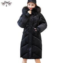 Plus la taille D hiver vestes Femmes 2018 Or velours épaissir Doudoune  Femelle À Capuchon Chaud Coton manteau Femmes Long Parka . 310880d79bf3