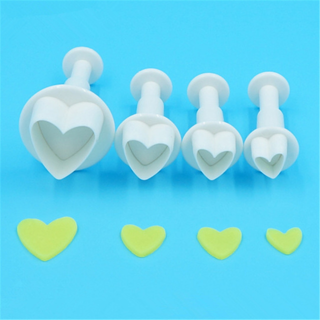 4pcs/set heart plastic plunger cutter fondant tools Professional ...