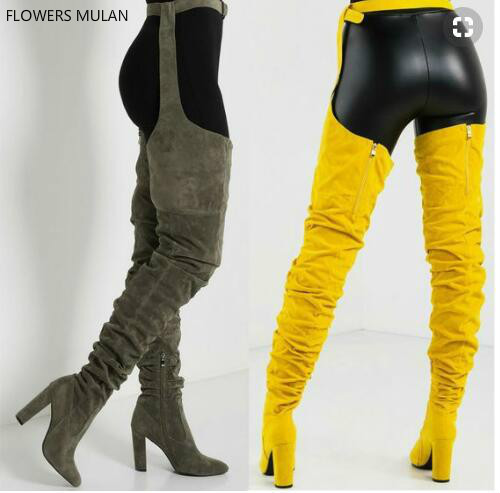New Designers Luxury Grey Yellow Rose Red Suede Thigh High Waist Buckle Lady Botas Pointed Toe Back Zip Pants Boots Shoes Woman frill trim zip up back striped pants
