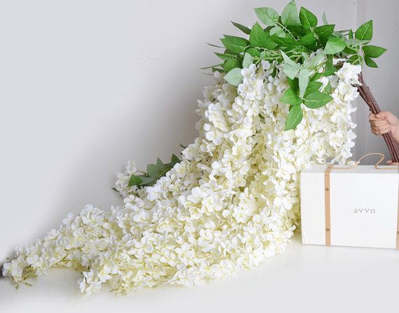 5pcs Artificial Silk Wisteria Home Garden Hanging Flowers Plants 64 White Wedding Vine Decor