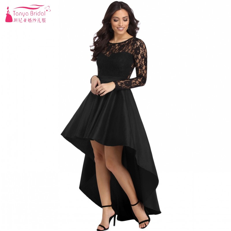 Tanya Womens Long Sleeve Lace Homecoming Dresses High Low Satin Cocktail Party Gowns DQG878
