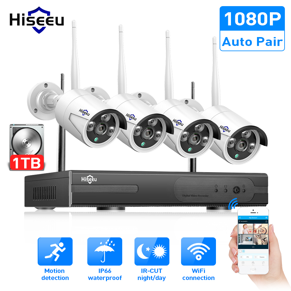 Hiseeu 8CH Wireless CCTV System 1080P 1TB 4pcs 2MP NVR IP IR CUT outdoor CCTV Camera