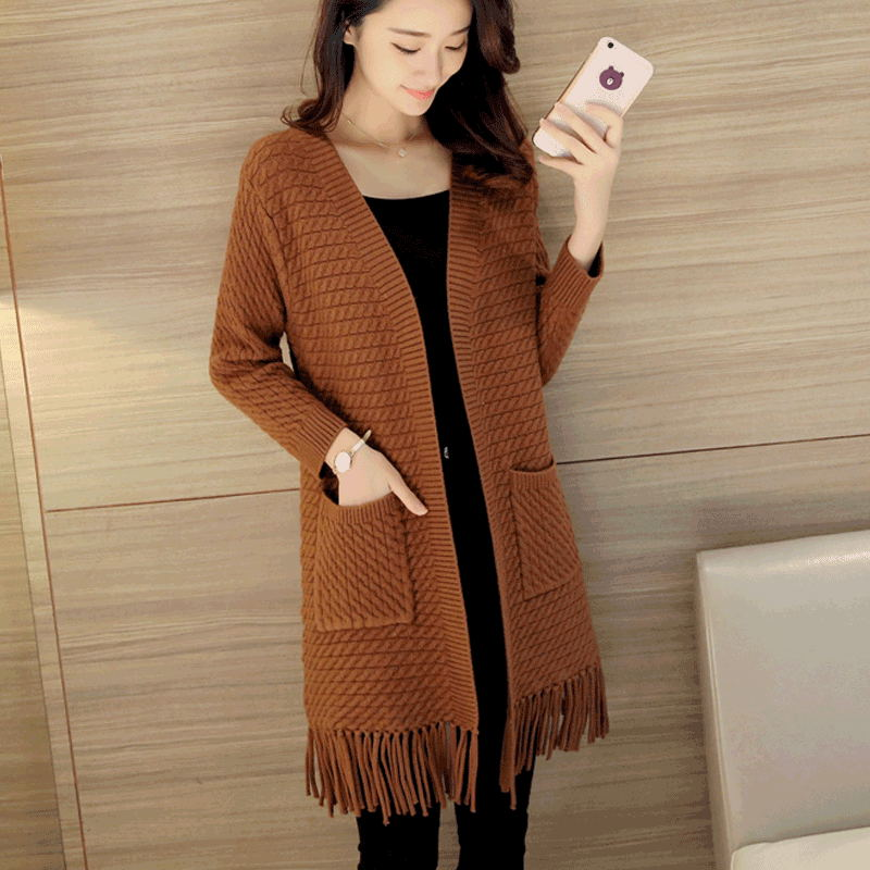 Spring and Autumn Korean version of the knitted women tassel cardigan loose long sweater coat wild solid color jacket TB18802