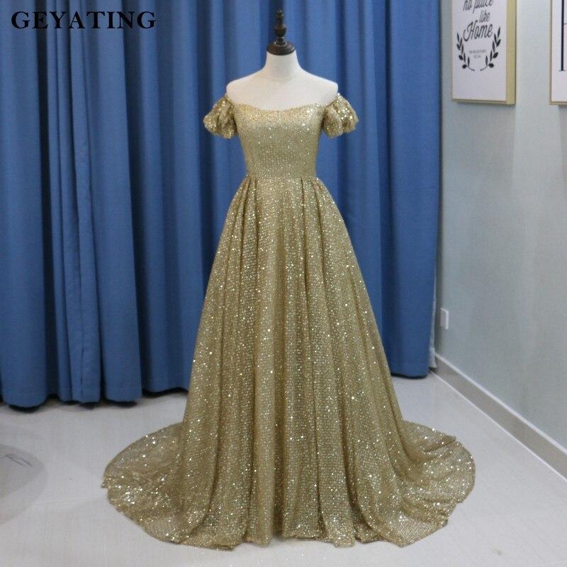 Bling Bling Yousef Gold Long Prom Dresses Arabic 2018 Glitter ...