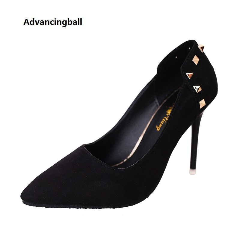 2017 new rivet High Heels fashion women Pumps Sexy Ladies red black gray Suede wedding Shoes for woman plus size 34-40 fashion buttons rivet studs high heels designer gladiator sandals red black women pumps party dress sexy wedding shoes woman